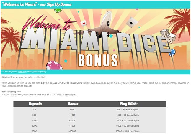 Miami dice casino third deposit bonus of 75% 50 free spins